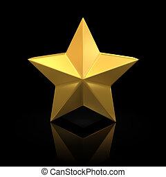 gyllene, stjärna, på, svart