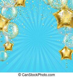 gyllene, stjärna, sunburst, födelsedag, affisch, sväller