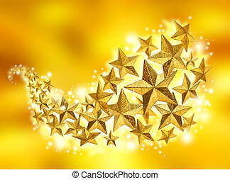 gyllene, stjärnor, firande, flöde