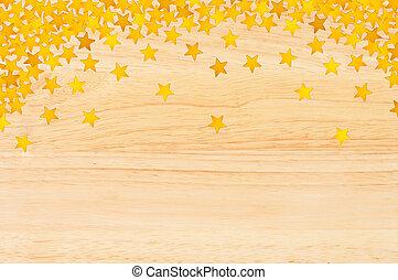 gyllene, stjärnor, in, den, bilda, av, konfetti, över, trä struktur, närbild