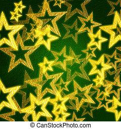 gyllene, stjärnor, in, grön fond