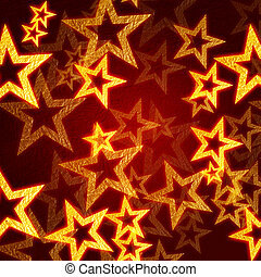gyllene, stjärnor, in, röd fond