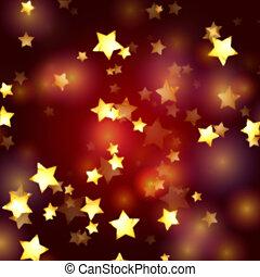 gyllene, stjärnor, in, röd, och, violett, lyse