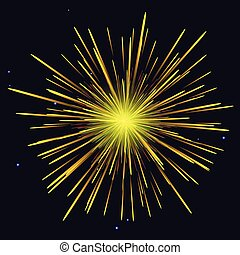 gyllene, strålande, fireworks, gul, lov, bakgrund