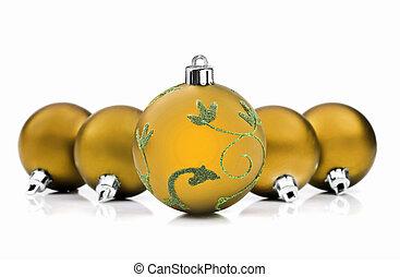 gyllene, struntsak, utrymme, text, bakgrund, vit jul