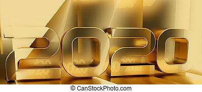 gyllene, symbol, 3d-illustration, 2020, bakgrund