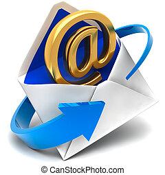 gyllene, symbol, av, e-post, kommer, ute, av, den, post...