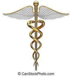 gyllene, symbol, medicinsk, caduceus