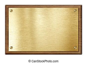 gyllene, tallrik, eller, nameboard, in, trä bågar, isolerat,...