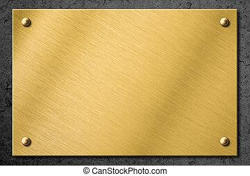 gyllene, tallrik, vägg, metall, skylt, bakgrund, mässing, ...