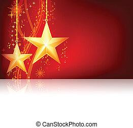 gyllene, tema, jul, röd