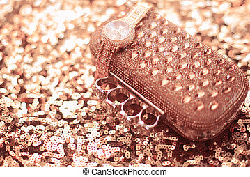 gyllene, textile., paljetter, armbandsur, stickande, accessories., portmonnä, sequined, lyxvara, kvinnor