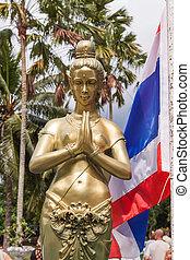 gyllene,  thaï, skulptur