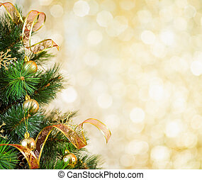 gyllene, träd, jul, bakgrund