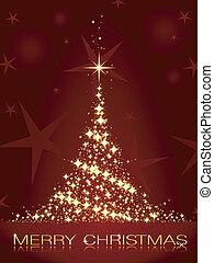 gyllene, träd, mörk, röd, julkort, lysande