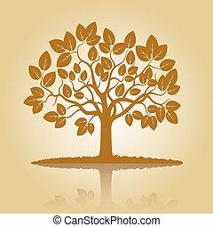 gyllene, träd, skugga