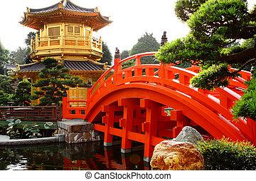 gyllene, trädgård, paviljong, kinesisk, nunnekloster, chi,...