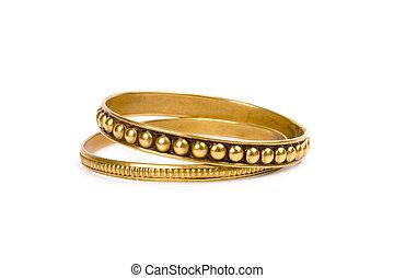 gyllene, två, armband