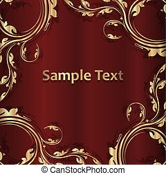 gyllene, utrymme, årgång, ram, text., illustration, mörk, vektor, röd fond, skugga, din, tom, design.