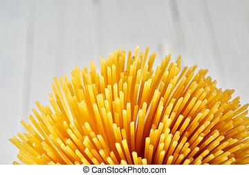 gyllene, utrymme, uppe, knippe, nära, avskrift, spagetti