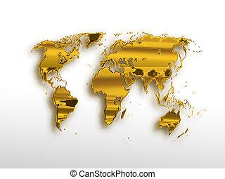 gyllene, världen kartlägger