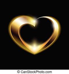 gyllene, valentinkort dag, hjärta