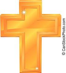 gyllene, vektor, kors, ikon