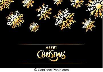 gyllene, vektor, munter, utsmyckningar, textning, text, snöflingor, krans, hälsning, calligraphic, stjärnor, design, agremanger, helgdag, julkort