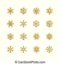 gyllene, vektor, snöflingor, illustration, bakgrund, kollektion, vit