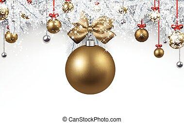 gyllene, vit, ball., jul, bakgrund