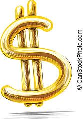 gyllene, vit, dollar, isolerat, underteckna