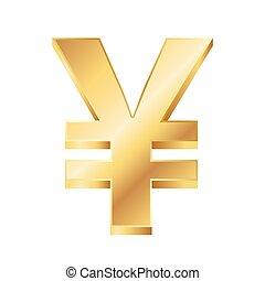 gyllene, yen, illustration, underteckna, vektor, bakgrund, vit