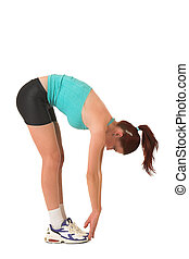 Gym #120 - Woman bending over touching toes.