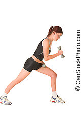 Gym #146 - Woman leaning forward, looking down, working out ...