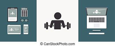 gym, activiteit, -, vector, web, pictogram