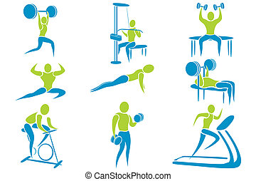 Gym Activity - illustration of set of icon showing different...