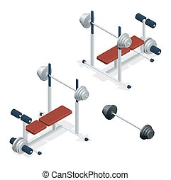 Gym adjustable weight bench with barbell isolated on white background. Flat 3d isometric vector illustration.