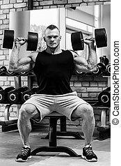 gym., allenamento, bello, durante, uomo