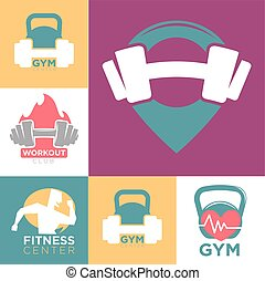 Gym and fitness club or workout sport center logo templates...
