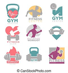 Gym and fitness club sport vector icons set - Gym and...