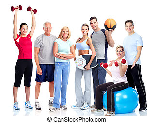 Gym and Fitness. Smiling people. Isolated over white...
