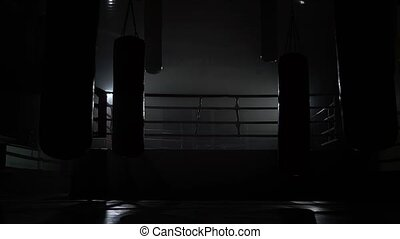 Gym and ring evening without people, beside boxing pears are...