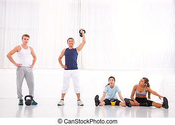 gym, anders, groep, mensen