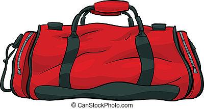 A red, cartoon gym bag.