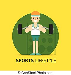 Gym bodybuilding concept design. Vector flat.