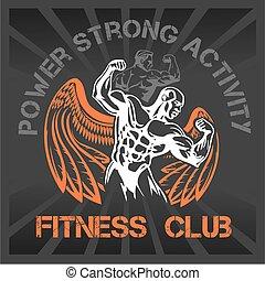 GYM Bodybuilding - vector emblem - Bodybuilding and...