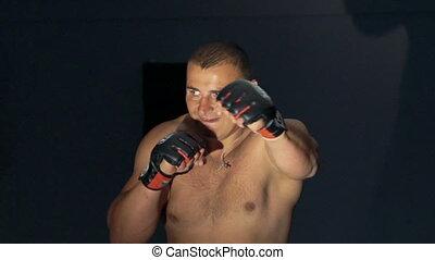gym., boxeur, lentement, trains, frapper, mannikin, bag-