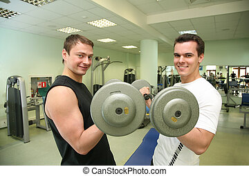 gym boys with dumbbells