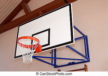 Gym building with basketball hoop