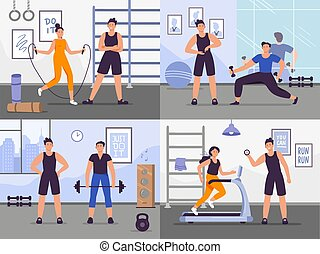 Gym coach. Vector illustration set people training